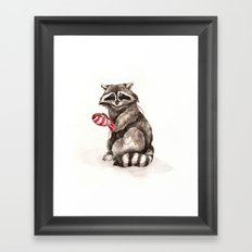 Pensive Raccoon in Red Mittens. Winter Season. Framed Art Print