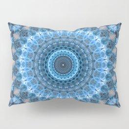 Digital mandala with light blue dominant. Pillow Sham