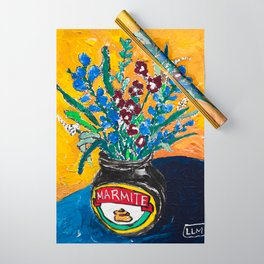 Wildflower Bouquet in Marmite Jar on Yellow and Blue Wrapping Paper