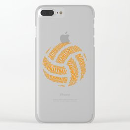Orange Volleyball Wordcloud - Gift Clear iPhone Case