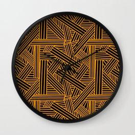 Sketchy Abstract (Orange & Black Pattern) Wall Clock