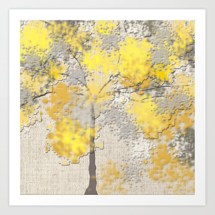 Abstract Yellow and Gray Trees Kunstdrucke