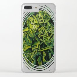 A Skeleton Embracing A Zombie Halloween Horror Clear iPhone Case