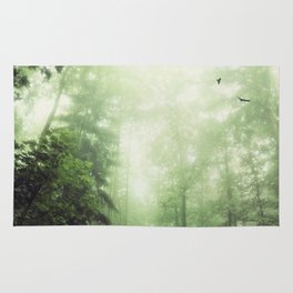 German Jungle - Forest in Morning Mist Rug