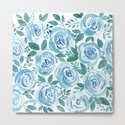 Pale blue roses . Watercolor . by fuzzyfox85