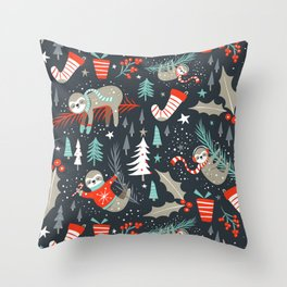 Slothy Holidays Throw Pillow