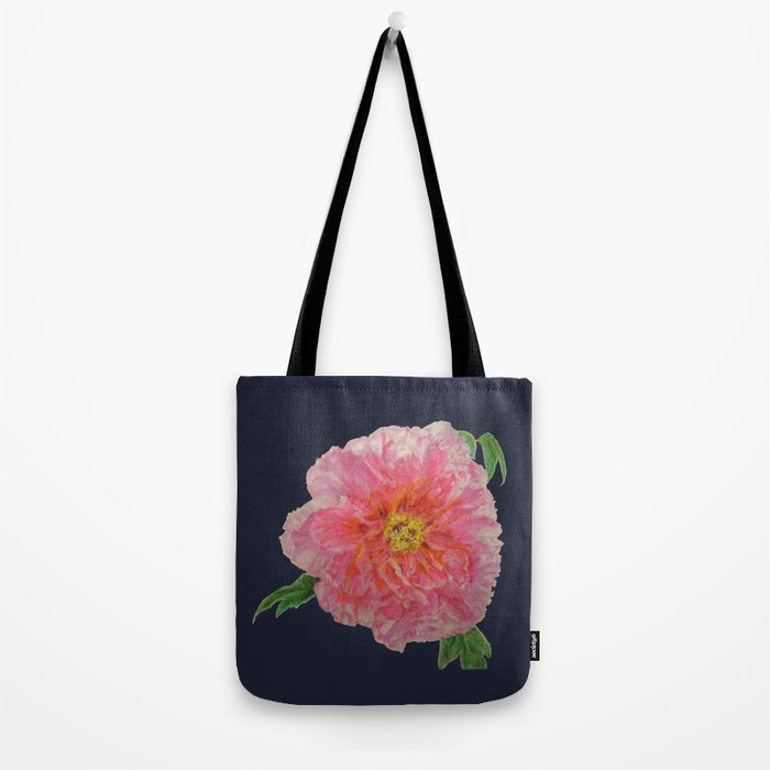 Pink Peony Flower Drawing on Blue Background Tote Bag