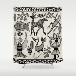 African Senufo Korhogo Tribal Ethnic Art Seamless Pattern Shower Curtain