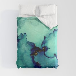 Navy Seas- Blue Green Abstract Painting Comforters