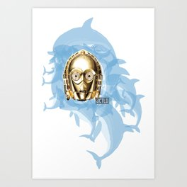 STARWARS C3PO CHILLEN WITH DOLPHINS Art Print