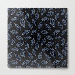 Blue Leafs Pattern Metal Print