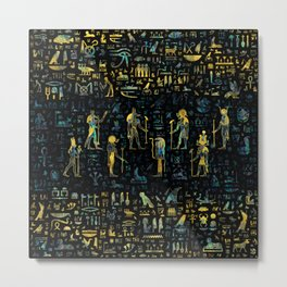 Egyptian Gods and hieroglyphs - Abalone and Gold Metal Print