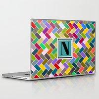 monogram Laptop & iPad Skins featuring N Monogram  by mailboxdisco