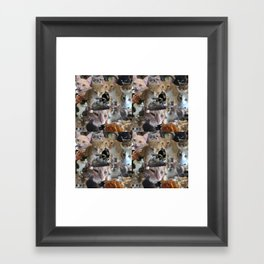 Cats of the neighborhood pattern Framed Art Print