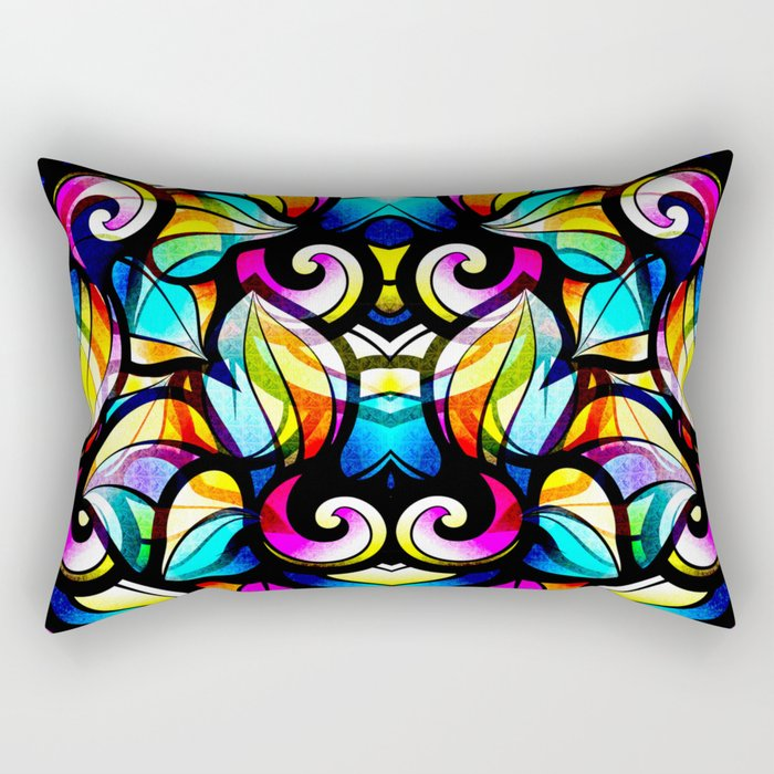 Colorful Abstract Stained Glass Design Rectangular Pillow