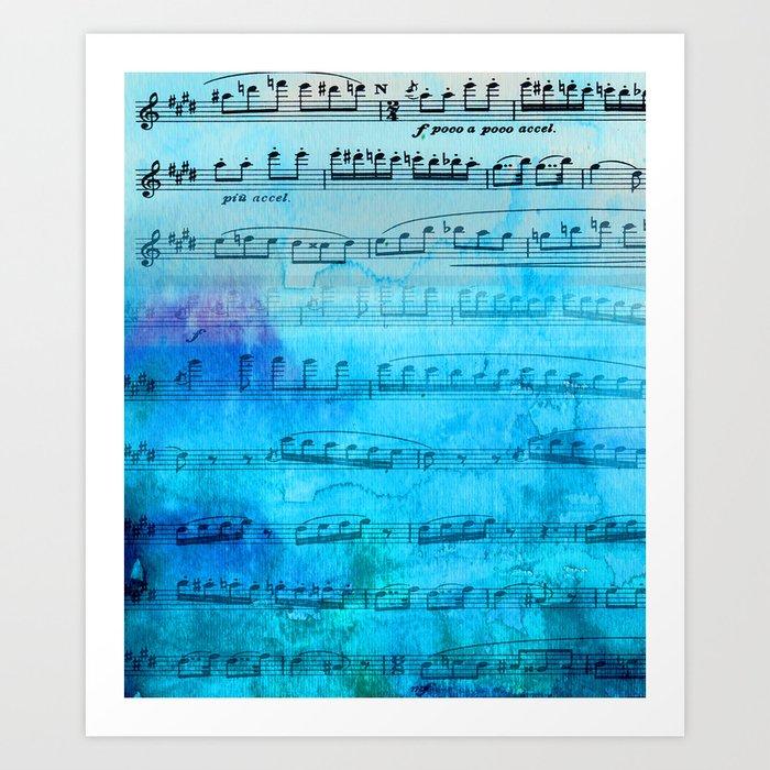 Blue mood music Art Print
