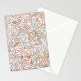 Mint Blush & Rose Gold Metallic Marble Texture Stationery Cards