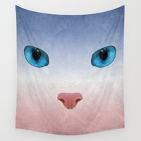 meow Wall Tapestries featuring MEOW by Rosa Picnic