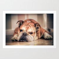 english bulldog Art Prints featuring English Bulldog by Hello Tokyo Go Go