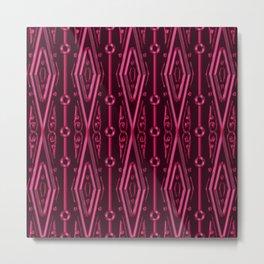 Ruby Red Tribal Geometric Diamonds Metal Print
