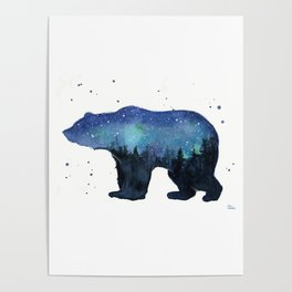 Forest Bear Silhouette Watercolor Galaxy Poster