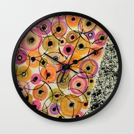 Circles and Flowers- Yellow Wall Clock