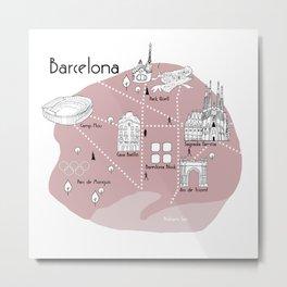 Mapping Barcelona - Pink Metal Print