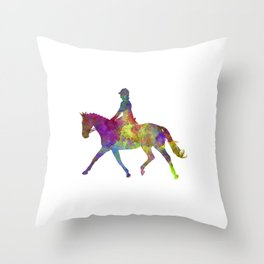 Horse show 05 in watercolor Throw Pillow
