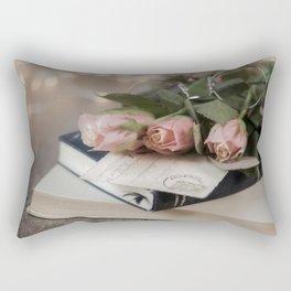 Flowered Books Rectangular Pillow