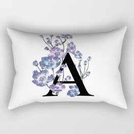 Letter 'A' Anemone Flower Typography Rectangular Pillow