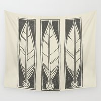 ethnic Wall Tapestries featuring Ethnic Feathers by rob art | simple