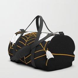 Halloween Orange Spider web with Bats Duffle Bag
