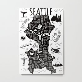 Seattle Illustrated Map in Black and White - Single Print Metal Print