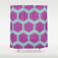 honeycomb Shower Curtains featuring Honeycomb by Sarah McMahon