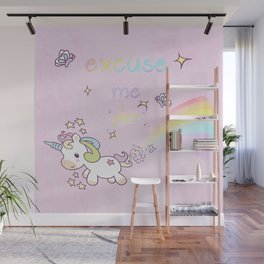 Funny and Cute Baby Unicorn Farting Rainbow in Pink Background Wall Mural