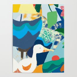 Sea Bird with Abstract Background Poster