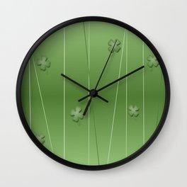 Green Clover Modern Print Wall Clock