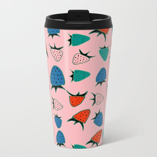 strawberry pink Metal Travel Mug