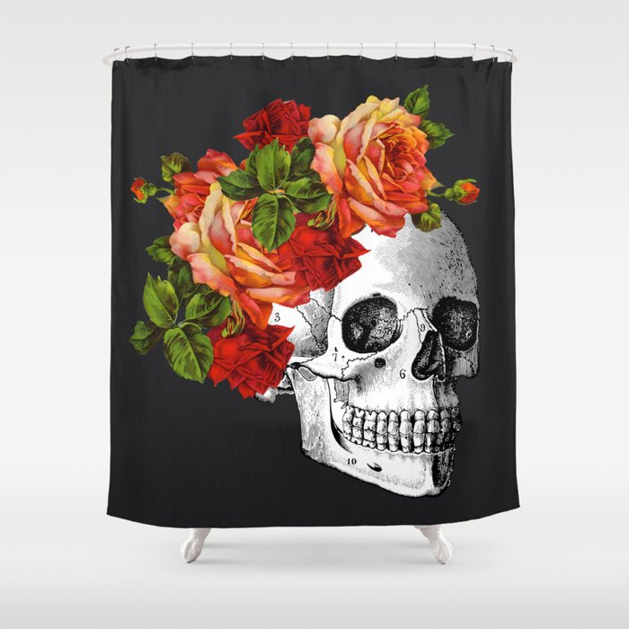 Day Of The Dead Black Linen Shower Curtain By Olaholahola