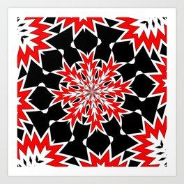 Bizarre Red Black and White Pattern 2 Art Print