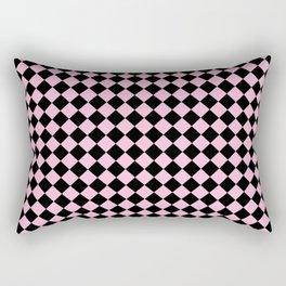 Black and Cotton Candy Pink Diamonds Rectangular Pillow