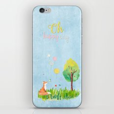 Fox- oh happy day on blue backround- Watercolor illustration iPhone & iPod Skin