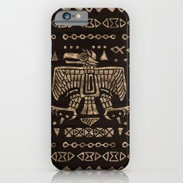 Aztec Eagle and Ornaments - Gold iPhone Case