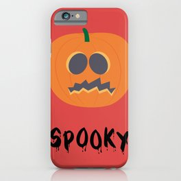 Halloween Pumpkinhead Spooky Poster In Cartoon Style With Red Background iPhone Case