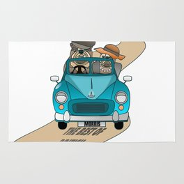 The  Best of British - English Bulldogs in a Morris Minor Rug
