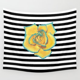 Yellow and Turquoise Rose on Stripes Wall Tapestry