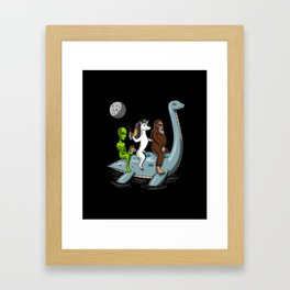 Alien Unicorn Bigfoot Riding Loch Ness Monster Conspiracy Framed Art Print