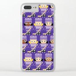 Super cute sports stars - Ice Hockey Purple Girls Clear iPhone Case