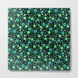 Mint and turquoise flowers on black Metal Print