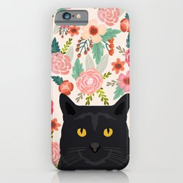 Black Cat florals spring summer animal portrait pet friendly cat lady gifts for her or him cute cats iPhone Case
